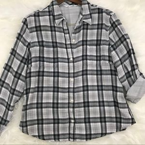 Lee Riders Black and White Plaid Flannel Shirt